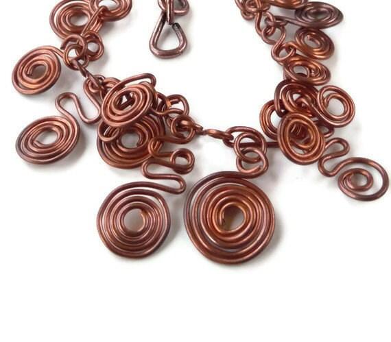 Antique copper bracelet  / Wire wrapped bracelet / Charm bracelet