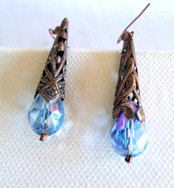 Copper crystal earrings, oxidized,  blue, aqua, filigree, teardrop, long, dangle, outlet, clearance