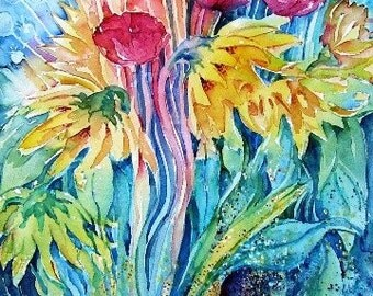 """Garden abstract """"Sunflowers and Poppies """"-Original Watercolour large  painting   21  x 14 ins. summer flowers, garden art,"""