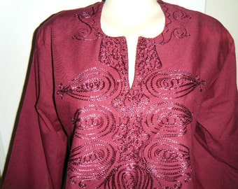 Burgundy Embroidered Cotton Tunic  Size Medium
