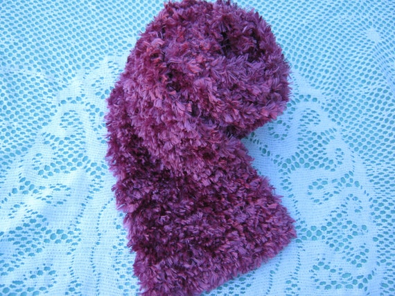 ON SALE - Fun Fur Scarf Hand Knitted in Hot Pink
