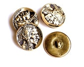 Vintage Button, 28mm INDIAN HEAD, 1960s, Collectible, 2 Piece Brass Button, Free Shipping in US with Purchase of Any Mix 8 items