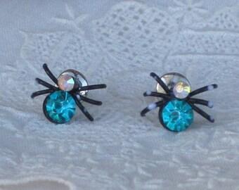 Vintage Spider Pierced Earrings Aqua, Teal, Clear Crystal