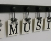 Musical Wall Decor Personalized Hanging Letters includes Wooden 7 Peg Hooks and Letters MUSIC and NOTE in Black
