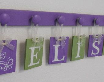 Baby Name Art- Nursery Name Art- Kids Name Art- Nursery Name Wall Art- Name Art for Nursery- Name Art- 7 Peg ELSIE- BUTTERFLY- Purple- Green