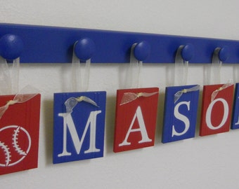 Kids Names MASON with a BASEBALL and FOOTBALL Sign includes 7 Wooden Pegs Painted Red and Blue