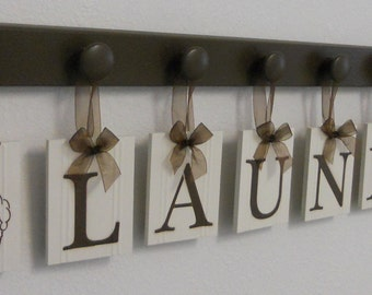 Laundry Room Wall Decor includes Wooden Peg Hanger and LAUNDRY, Washboard and Bucket in Chocolate Brown