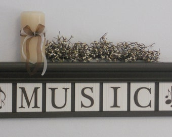 MUSIC - Musical Notes - Personalized Family Names and Signs / Shelf with Wooden Letter Tiles Painted Chocolate Brown