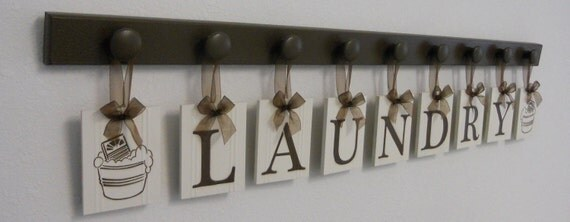 Laundry Room Wall Decor includes Wooden 9 Peg Hanger and LAUNDRY, Washboard and Bucket in Chocolate Brown