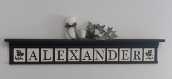 "Personalized Family Name Signs 42"" Shelf and 11 Wooden Letter Black and White - ALEXANDER with Bold Ivy Leaves"
