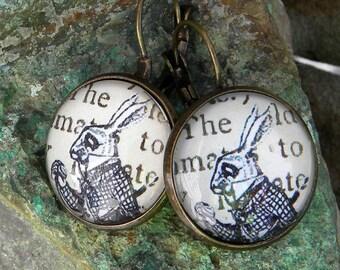 White Rabbit Earrings, Alice In Wonderland Earrings, White Rabbit Jewelry