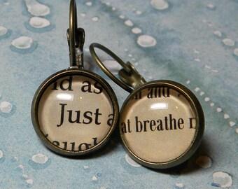 JUST BREATHE Earrings, Breathe Earrings, Inspirational, Book Jewelry, Jewellery, Word Jewelry, Nurse