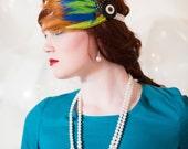 Fancy Fluorescence Headpiece Prom Feather Fascinator Neon Blue Green Retro 80s Lace Headband Comb Clip Madonna