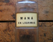 Vintage Large Clear Square Apothecary Pharmacy Bottle with Spanish Label
