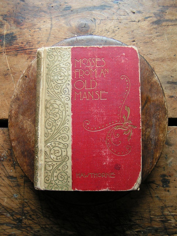 Antique Leather Bound Book - Mosses from an Old Manse by Hawthorne - Red Valentine's Gift