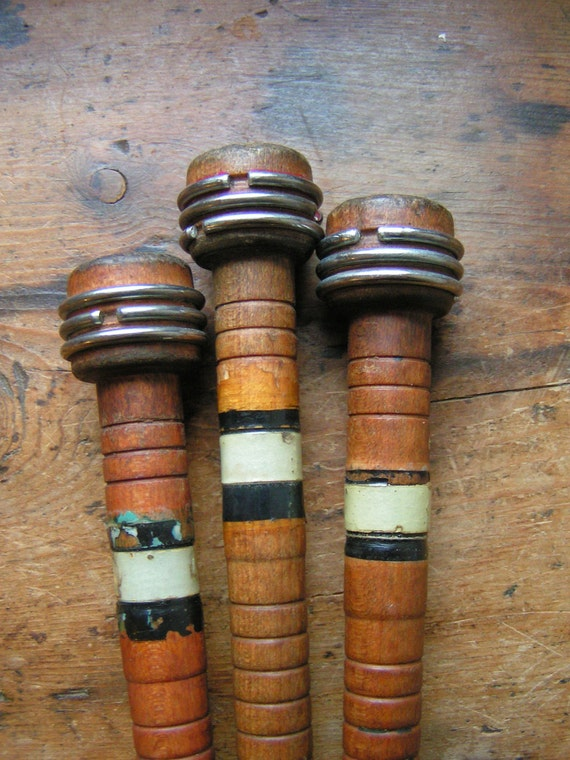 Vintage Set of Three Wooden Spools with Black and White Stripes