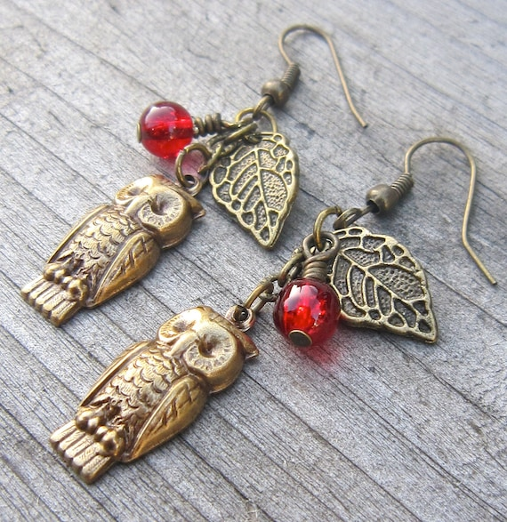 Owl earrings, leaf and berry, antiqued bronze