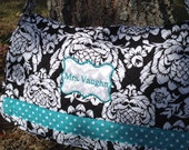 Quilted Fabric Diaper or shoulder bag Personalized with Name or Monogram.
