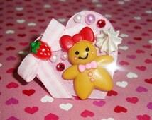 Sweet Gingerbread Girl Strawberries 'n' Cream Pink Glittery Heart Ring