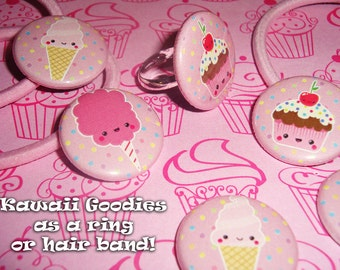 Cupcake, Ice Cream, or Cotton Candy Kawaii Goodies - Ring or Hair Band