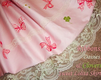 Ribbons, Daisies & Lucky Clovers Sweet Lolita Skirt - ANY SIZE