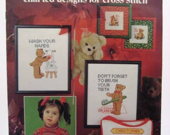 Vintage Cross Stitch Pattern Leaflet - Teddy Bear Cross Stitch