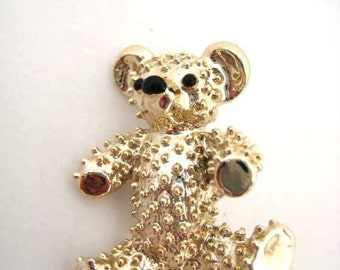 Vintage Gold Teddy Bear Brooch