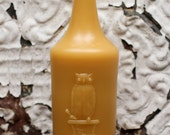 """Beeswax Candle - antique bottle shaped - """"OWL DRUG CO."""" - by Pollen Arts - XLg."""