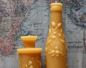"Beeswax Candle Collection - antique bottle shaped - ""Md. Lime Juice and Pan's Perfume"" - by Pollen Arts - Md's"