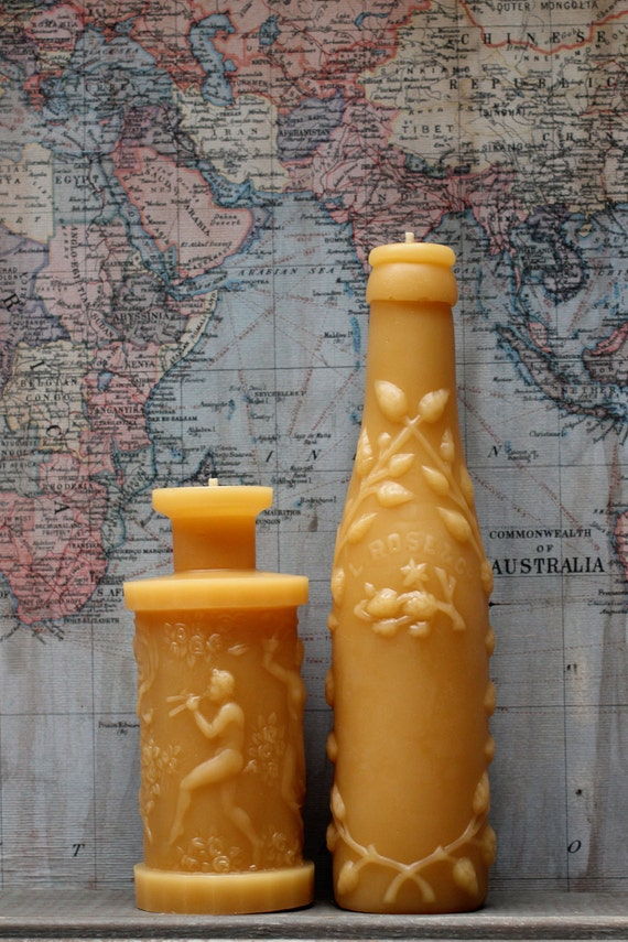 """Beeswax Candle Collection - antique bottle shaped - """"Md. Lime Juice and Pan's Perfume"""" - by Pollen Arts - Md's"""