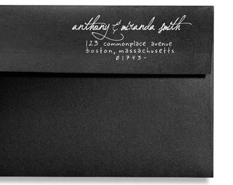 Personalized Address Stamp - Custom Address Stamp - Weddings - Handwritten Text Style - DIY Printing - Original - Self Inker - Wood Mounted