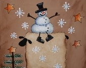 Primitive Snowman and Sheep painting - Hand Painted on canvas panel - OFG