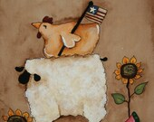 Primitive sheep and Rooster - Summer - Hand Painted on Canvas Panel - Americana - OFG