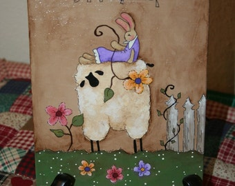 Primitive sheep and Bunny - Spring - Hand Painted on Canvas Panel - Easter - OFG