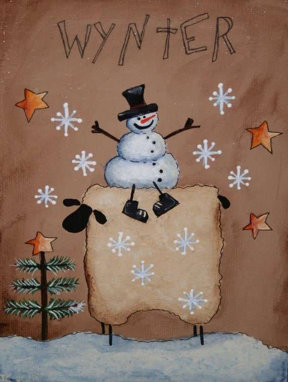 Items similar to primitive snowman and sheep painting