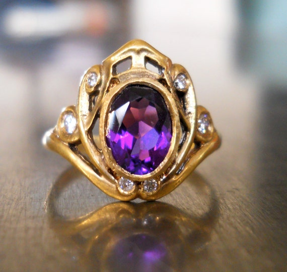 Amethyst and Diamond Engagement Ring - FREE SHIPPING
