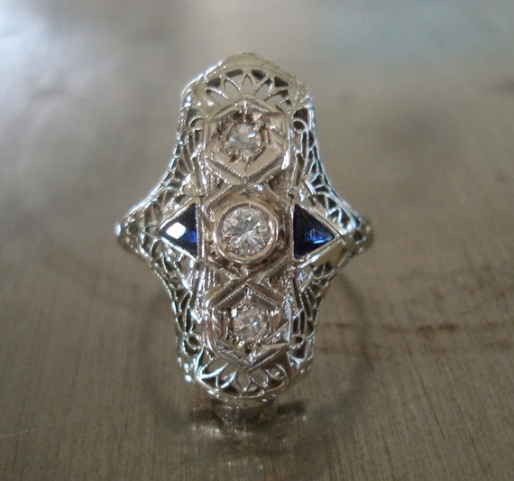 Edwardian Diamond and Sapphire Engagement Ring - FREE SHIPPING