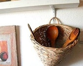 Hand Woven Wicker Hanging Utensils Basket, Home Decor, Wall Decor, Wall Hanging, Kitchen Decor, Kitchen Storage, Natural Materials, Eco Gift