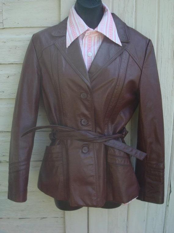 Sale -Vintage womens leather rocker 1970s jacket 12 racer Bermans