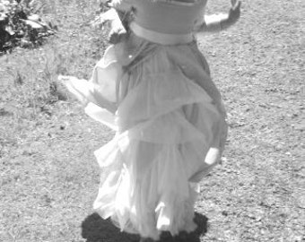 Renaissance style floor length Flower girl/ Bridesmaid dress, Cream & ivory with four layered ivory tulle petticoat.