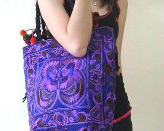 Hmong Vintage Style Ethnic Thai Boho Shoulder Medium Tote Bag