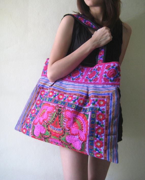 Ethnic Hobo Boho Asian Embroidered Thai Tote Shoulder Hmong HandBag