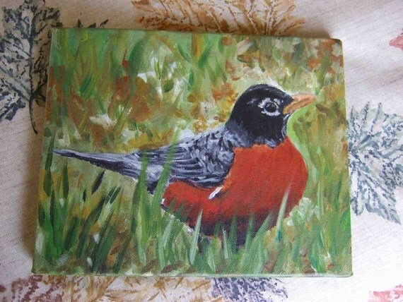 Spring Robin 8 x 10 Original painting by Melloizes Loizes
