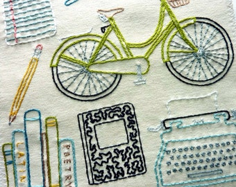 Off to College Hand Embroidery Pattern. Classic Series.