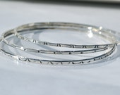 Sterling Silver Bangle Bracelets Stacking Bangle Bracelets Set of 3