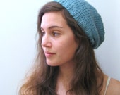 Knitted Hat - Slouch Hat - The Bamboo Slouch Hat - Angora Bamboo - Mint