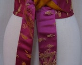 Fuschia Dragon Brocade Obi Sash