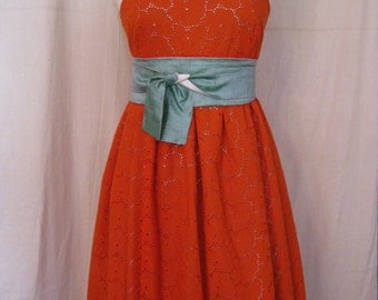 SALE Orange Eyelet Summer Baby Doll Sundress