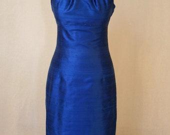 Sapphire Blue Grecian Halter Shantung Dress-Custom Made to Order