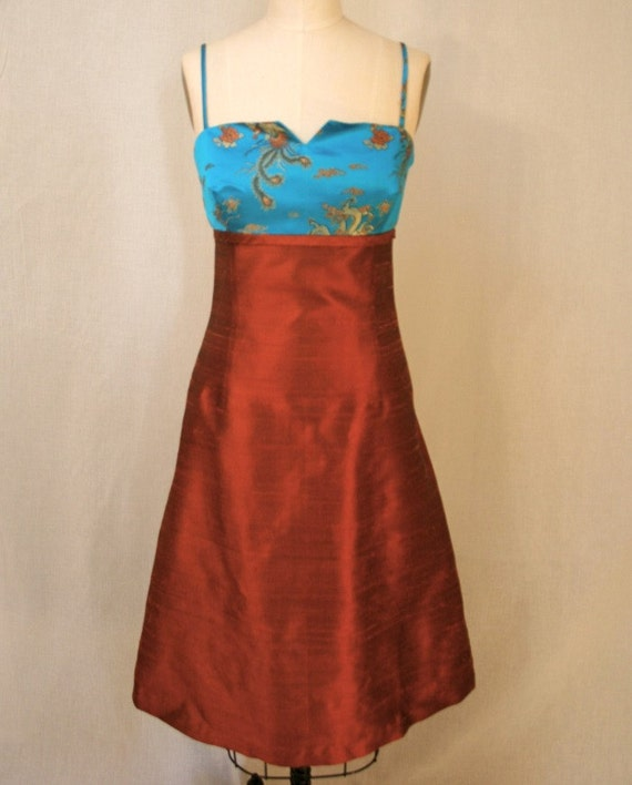 SALE Turquoise Brocade and Orange Rust Shantung Cocktail Dress